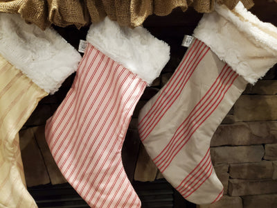 Holiday Decor - Christmas Stockings - Farmhouse Stripe Collection