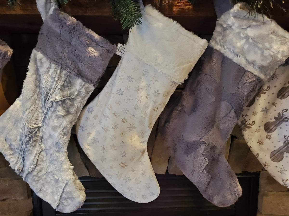 Holiday Decor - Christmas Stockings - Barnwood Woodland and Silver Fawn Minky Collection Set 3