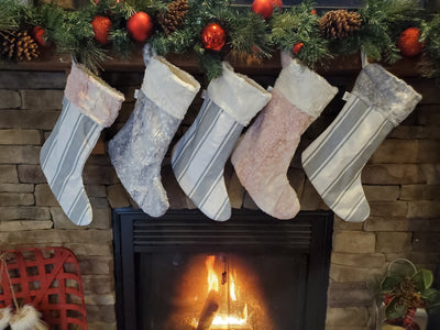 Holiday Decor - Christmas Stocking - Farm Stripe in Gray, Rosewater Fawn Minky, Silver Fawn Minky