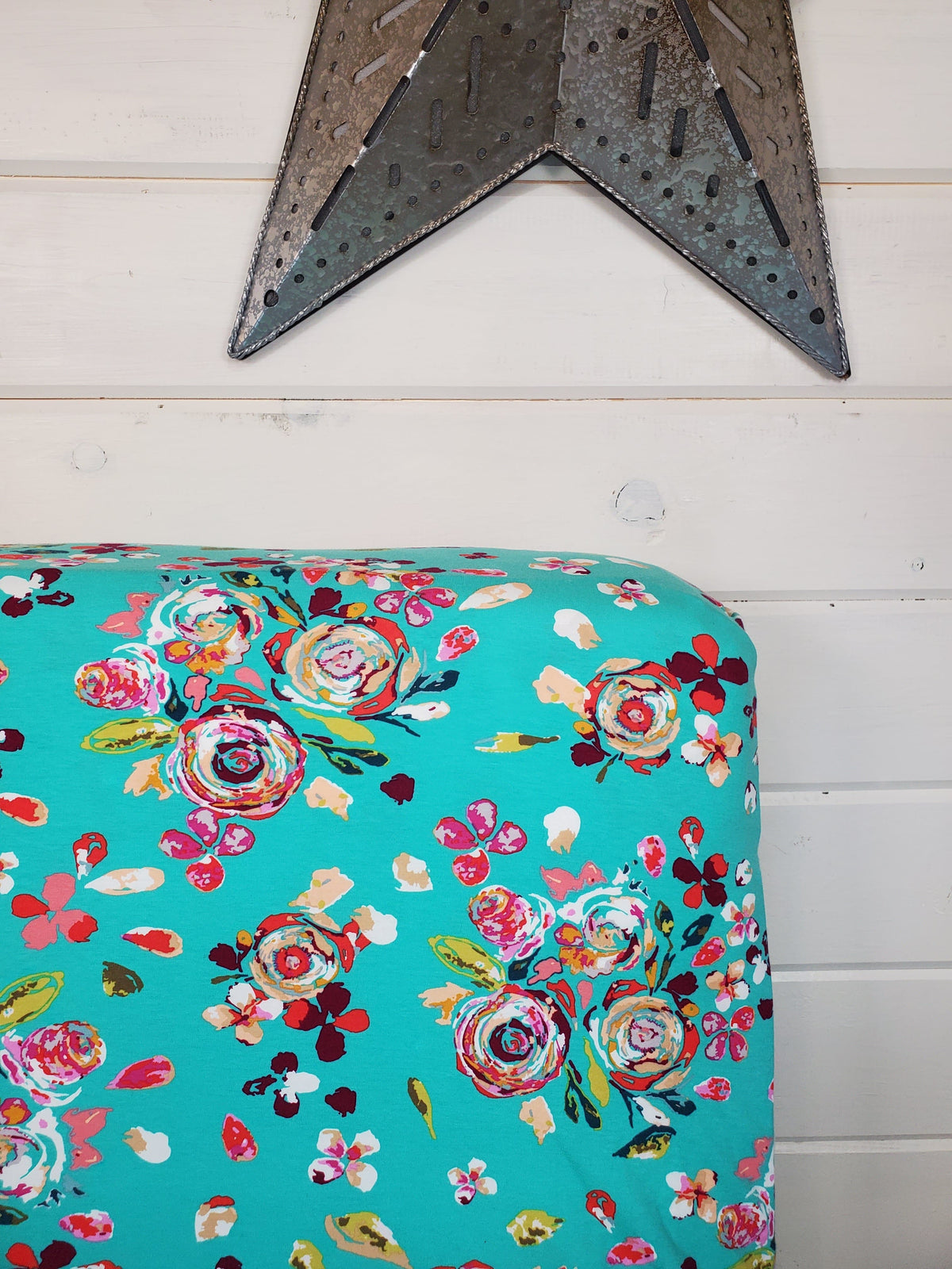Fitted Sheet - Floral in Teal Floral : All Bed Sizes