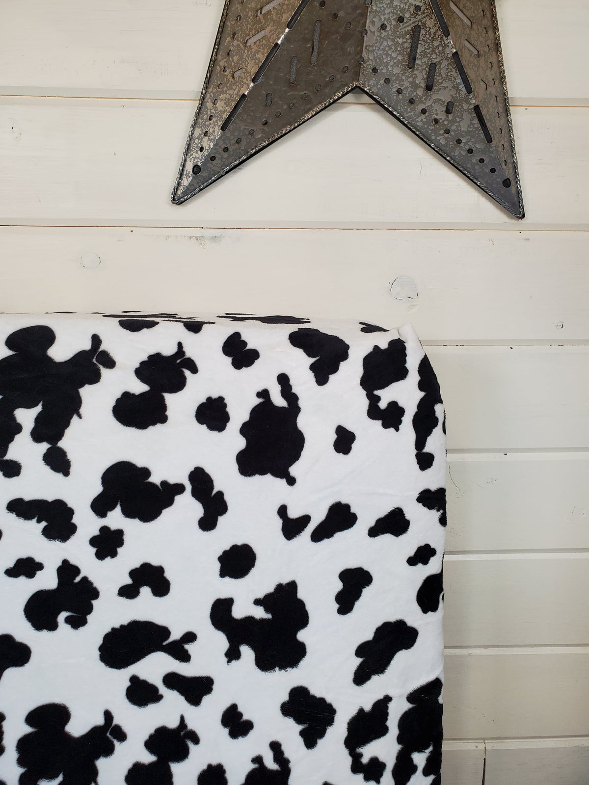 Fitted Sheet - Minky in Black White Cow : All Bed Sizes