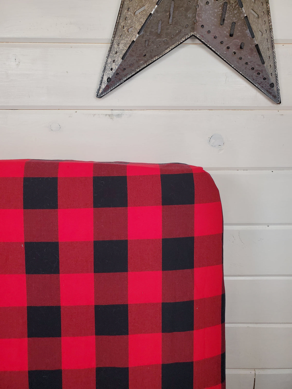 Fitted Sheet - Check in Red Black Buffalo Check : All Bed Sizes