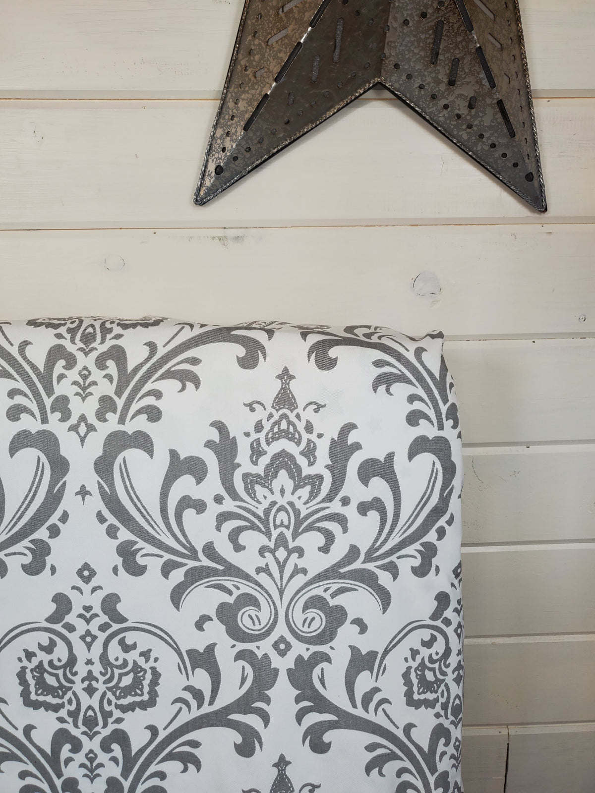 Fitted Sheet - Damask in White Gray : All Bed Sizes