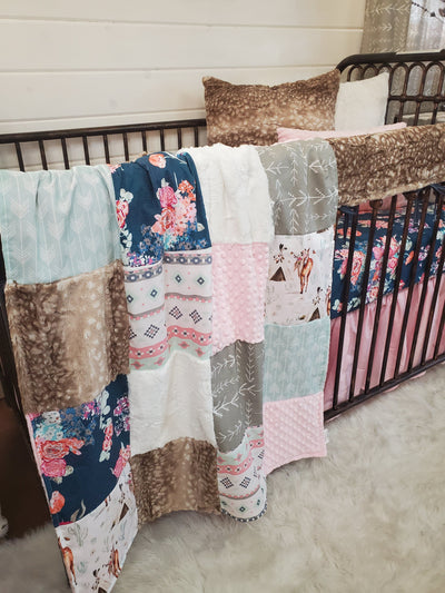 Ready to Ship Girl Crib Bedding- Horse and Floral Collection