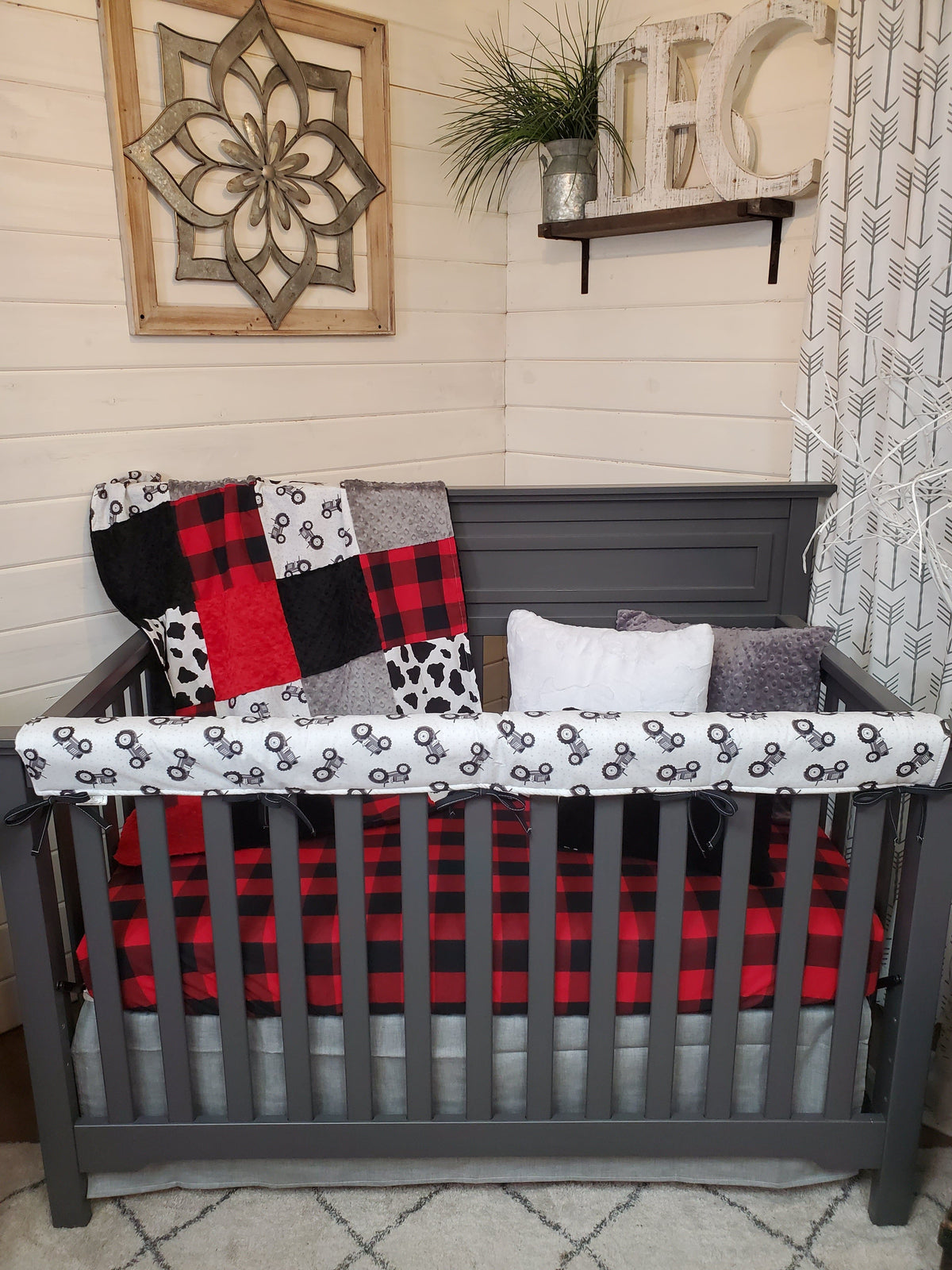 Ready to Ship Boy Crib Bedding- Tractor and Red Black Check Collection
