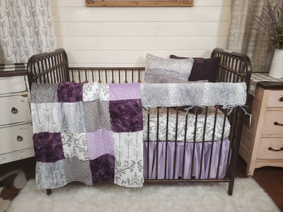 Ready to Ship Girl Crib Bedding- Damask and Silver Fawn Minky Collection