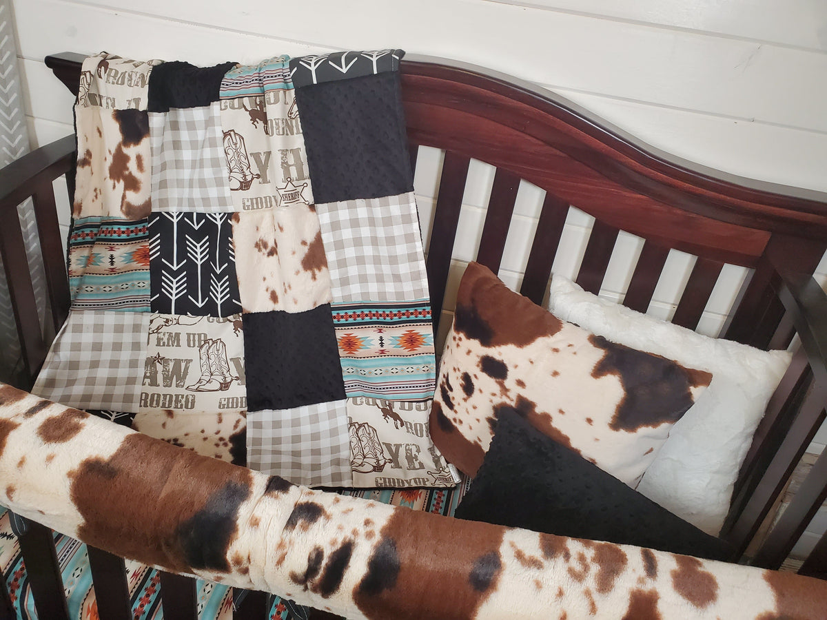 Ready to Ship Boy Crib Bedding- Cowboy, Cow Minky, Mint Aztec Collection