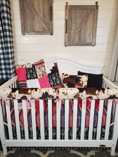 Ready to Ship Girl Crib Bedding- Boots, Hats, Cow Minky Collection