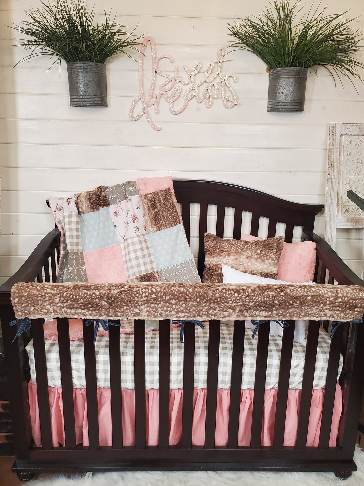 Ready to Ship Girl Crib Bedding- Floral Fawn and Fawn Minky Collection