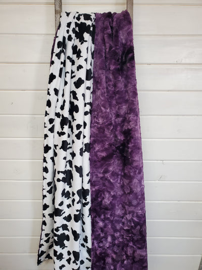 Comfort Blanket - Black White Cow Minky and Galaxy Minky
