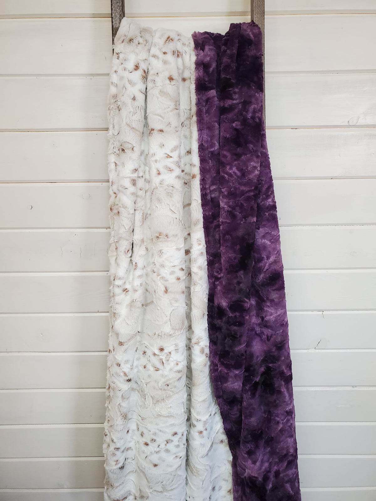 Gift Sale - Adult Minky Blanket - Snow Leopard minky and plum galaxy minky