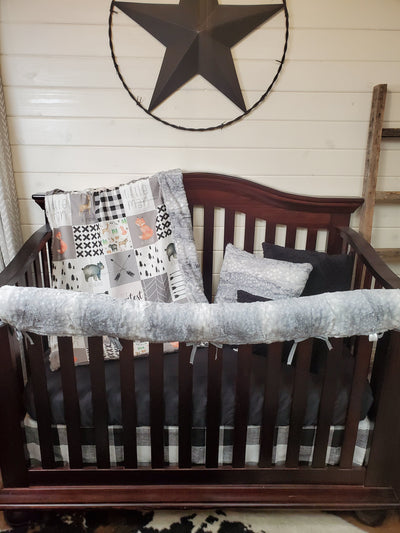 Custom Boy Crib Bedding- Little Man Forest Animal Collection