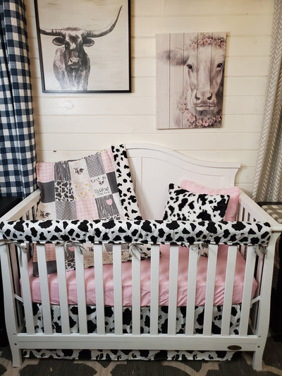 Custom Girl Crib Bedding- Cows Come Home Collection