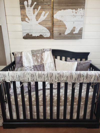 Ready to Ship Neutral Crib Bedding- Buck and Birch Woodland Collection