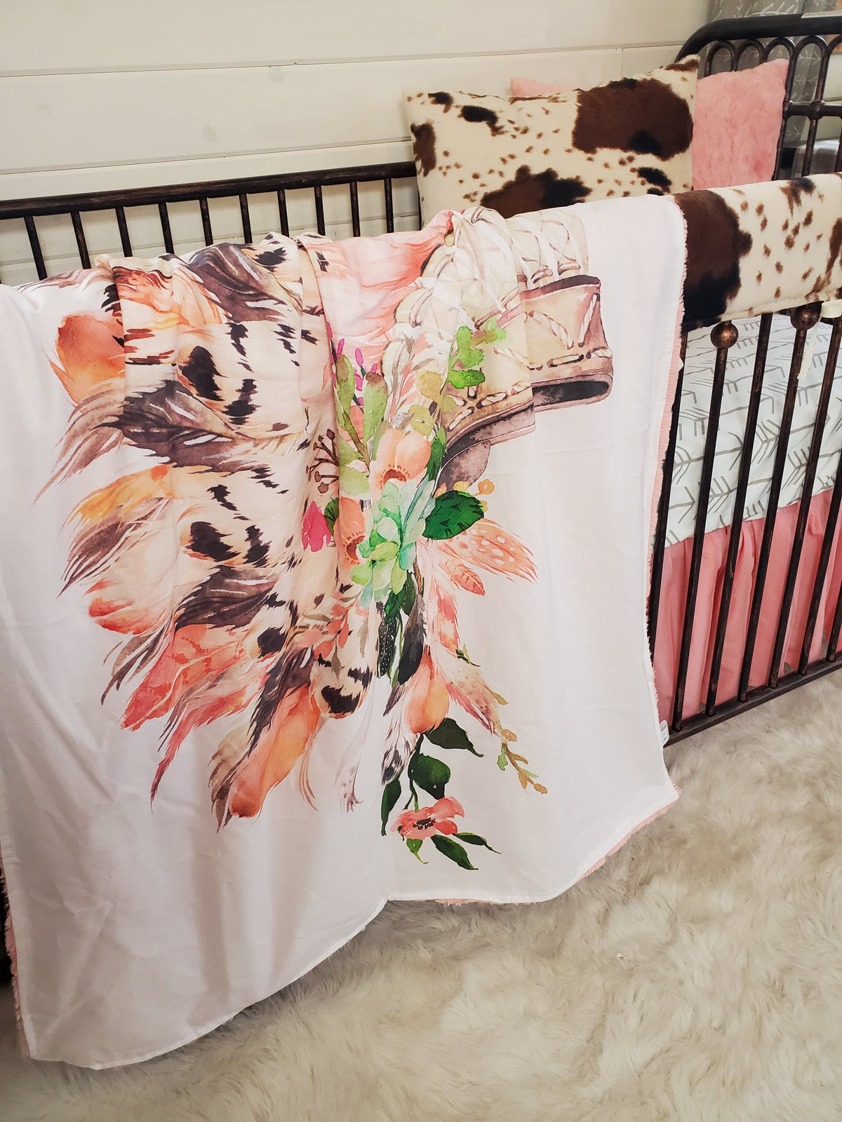 Custom Girl Crib Bedding- Head Dress and Cow Minky Collection
