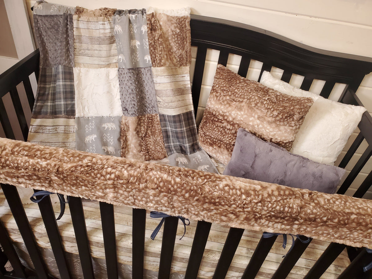 Ready to Ship Boy Crib Bedding- Rustic Bear and Fawn Minky Collection