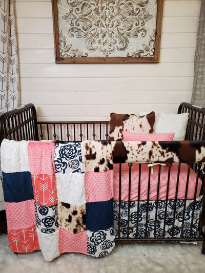 New Release Girl Crib Bedding- Navy Rose and Cow Minky Collection