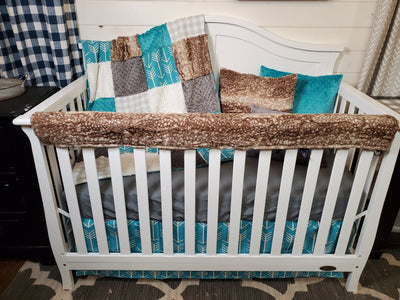 New Release Neutral Crib Bedding- Teal Arrow and Fawn Minky Collection