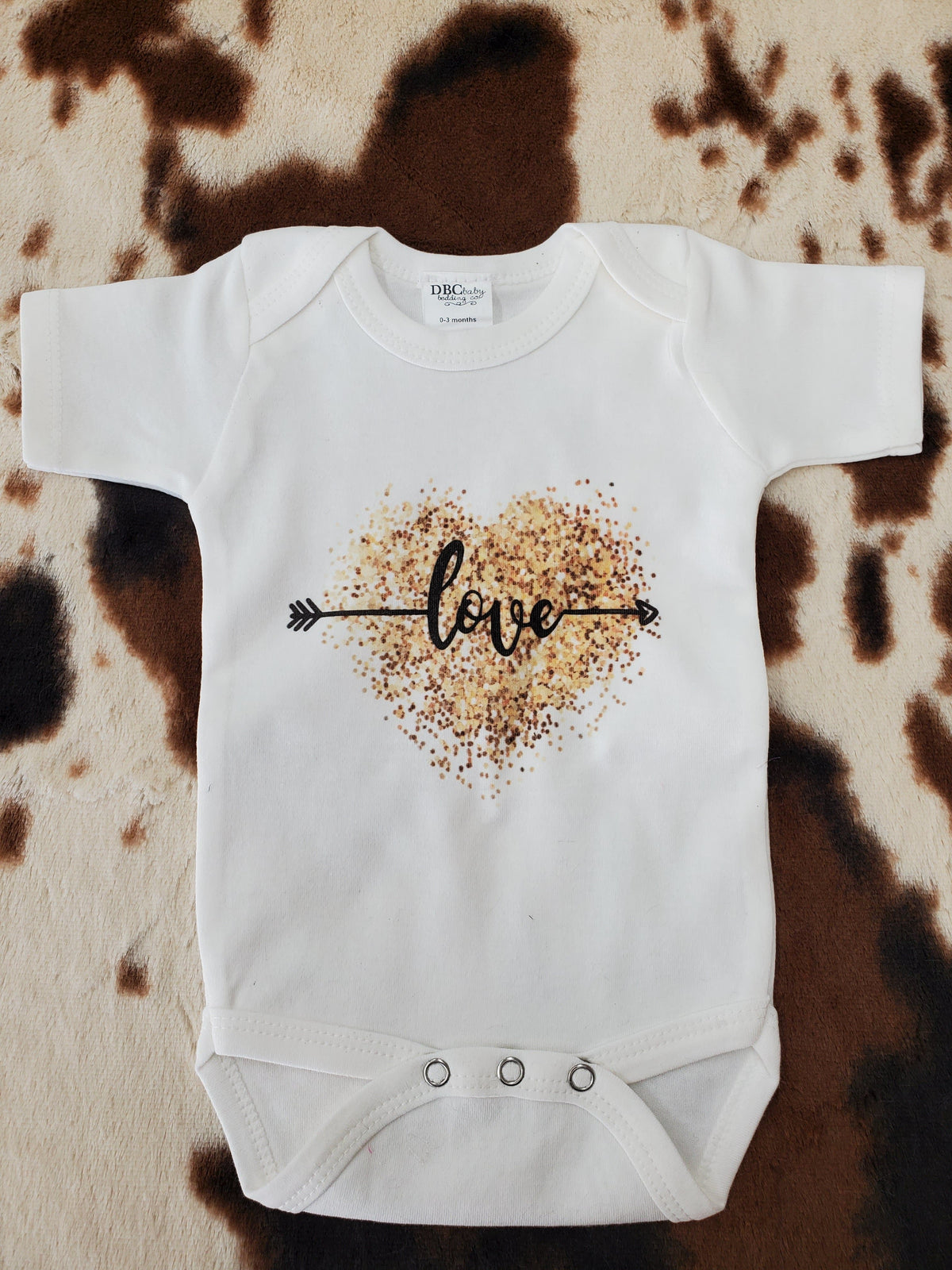 Baby Onsies - Love Arrow with Gold Glitter Heart