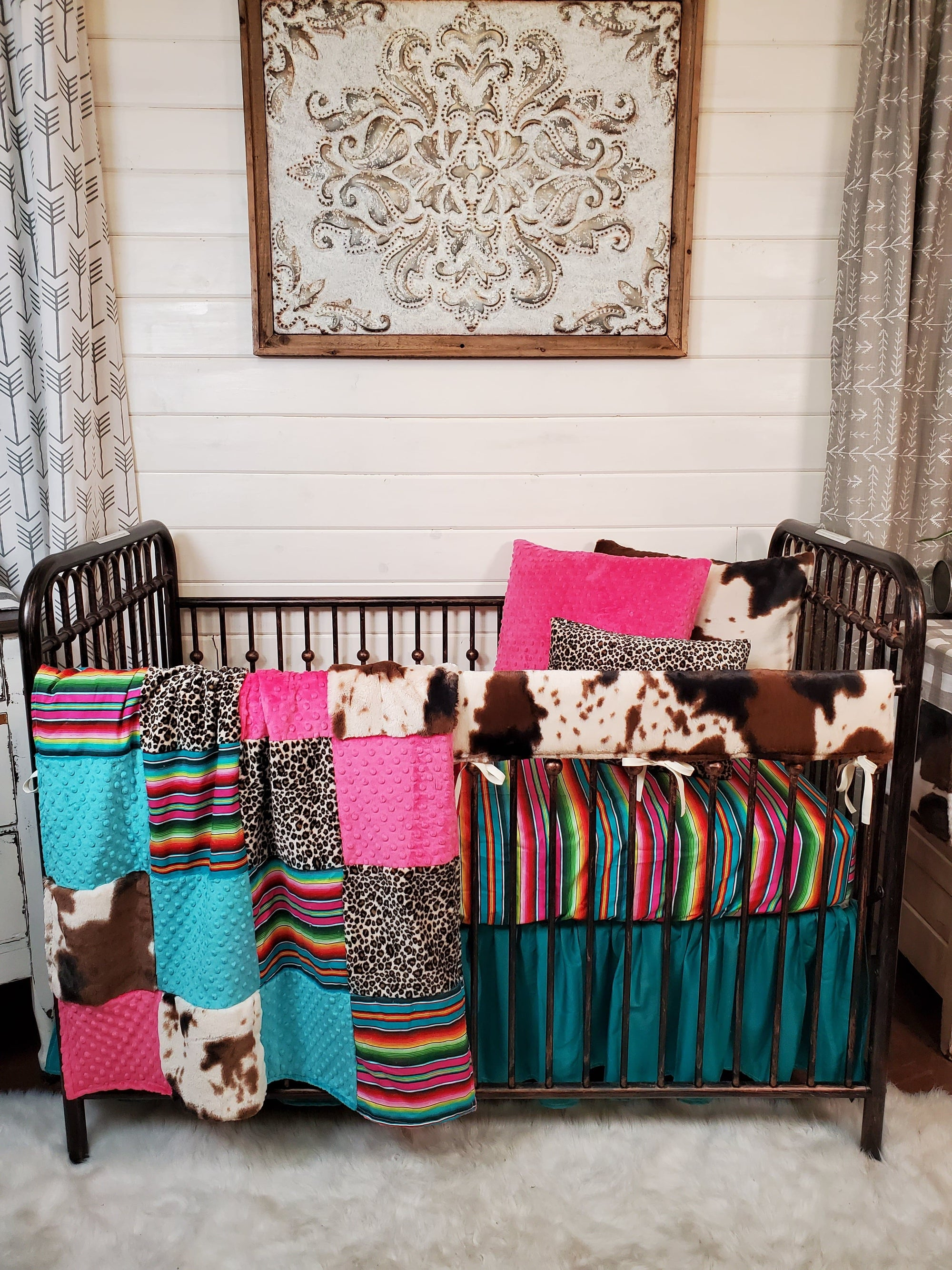 Stock Girl Crib Bedding- Serape, Cheetah, and Cow Minky Collection