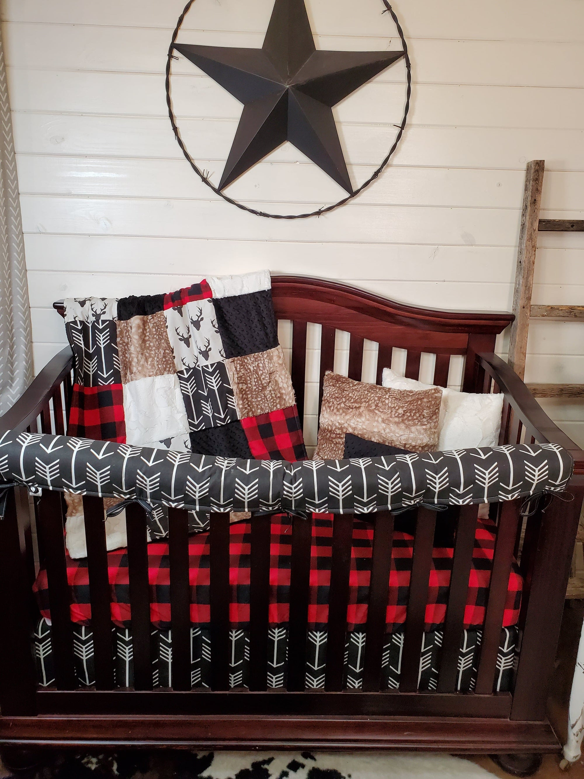 Stock Boy Crib Bedding - Buck, Fawn Minky, Arrows, Red Black Buffalo Check, Woodland Collection