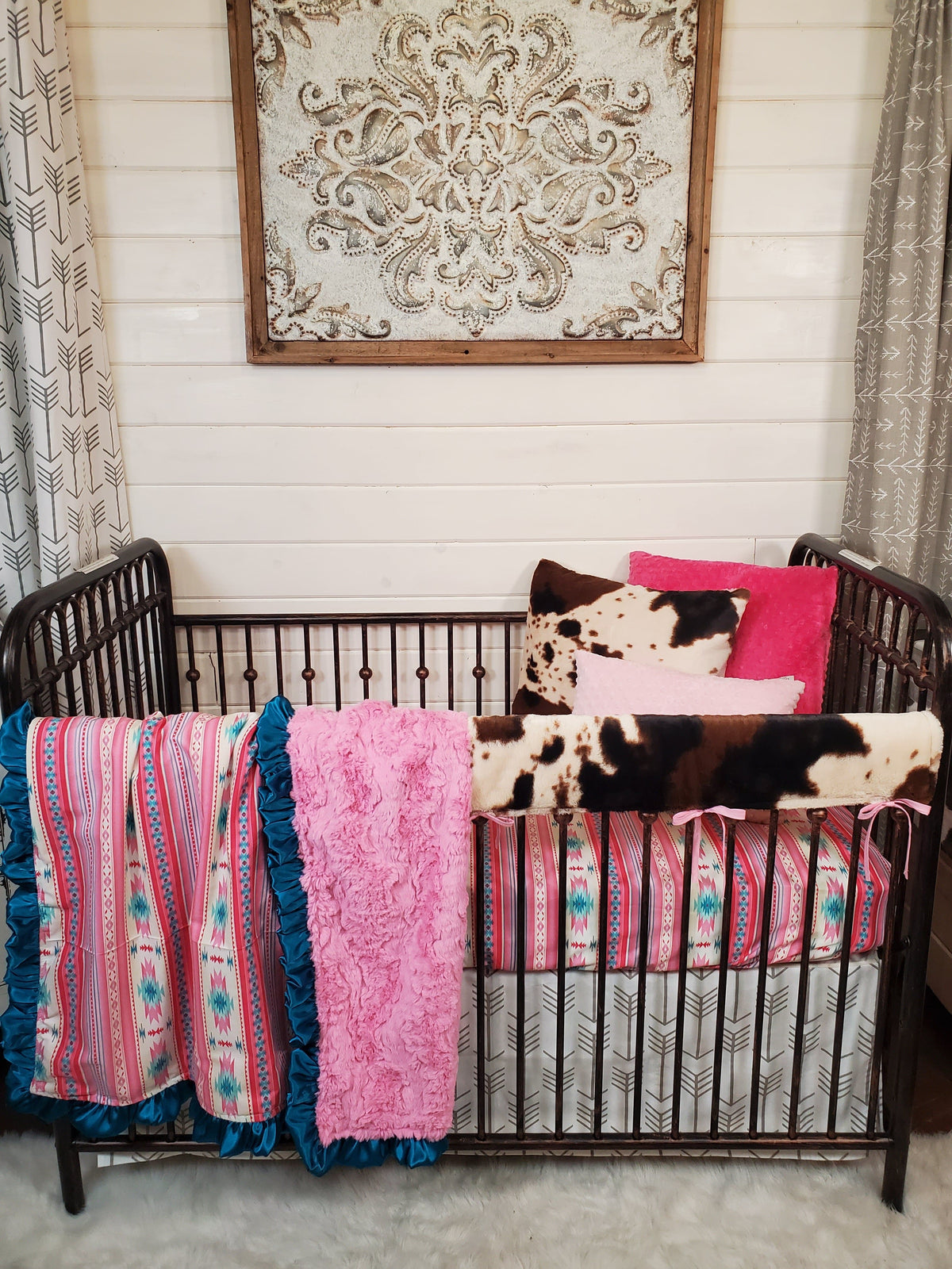 New Release Girl Crib Bedding- Pink Aztec and Cow Minky Woodland Collection