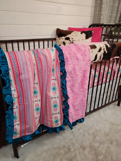 Stock Girl Crib Bedding- Pink Aztec and Cow Minky Woodland Collection