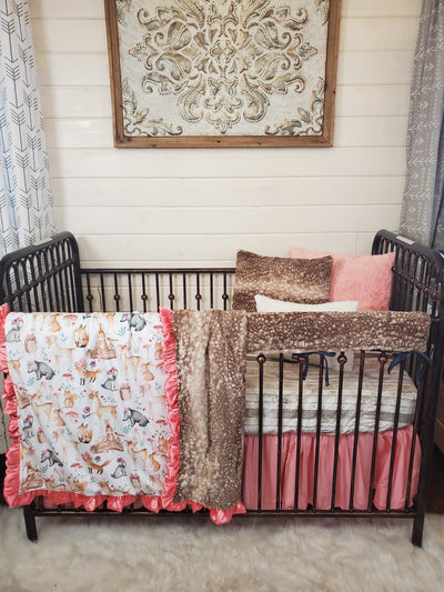 New Release Girl Crib Bedding- Floral Woodland Animals and Fawn Minky Collection