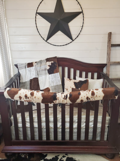 New Release Boy Crib Bedding- Rustic Wood and Cow Minky Collection