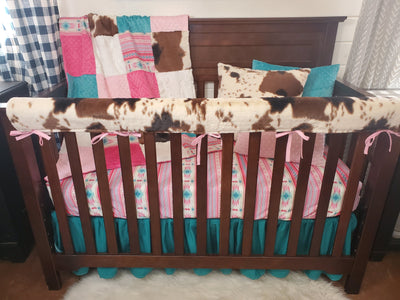 New Release Girl Crib Bedding- Pink Aztec and Cow Minky Collection