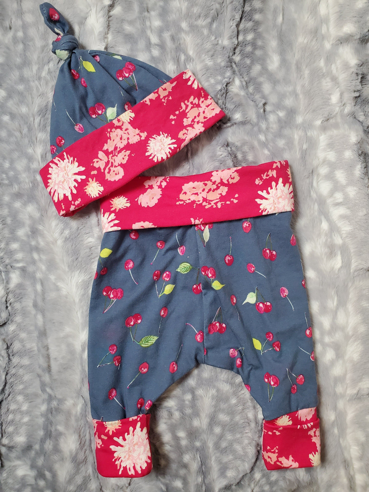 Baby Pants and Hat Set - Cherries with pink floral trim