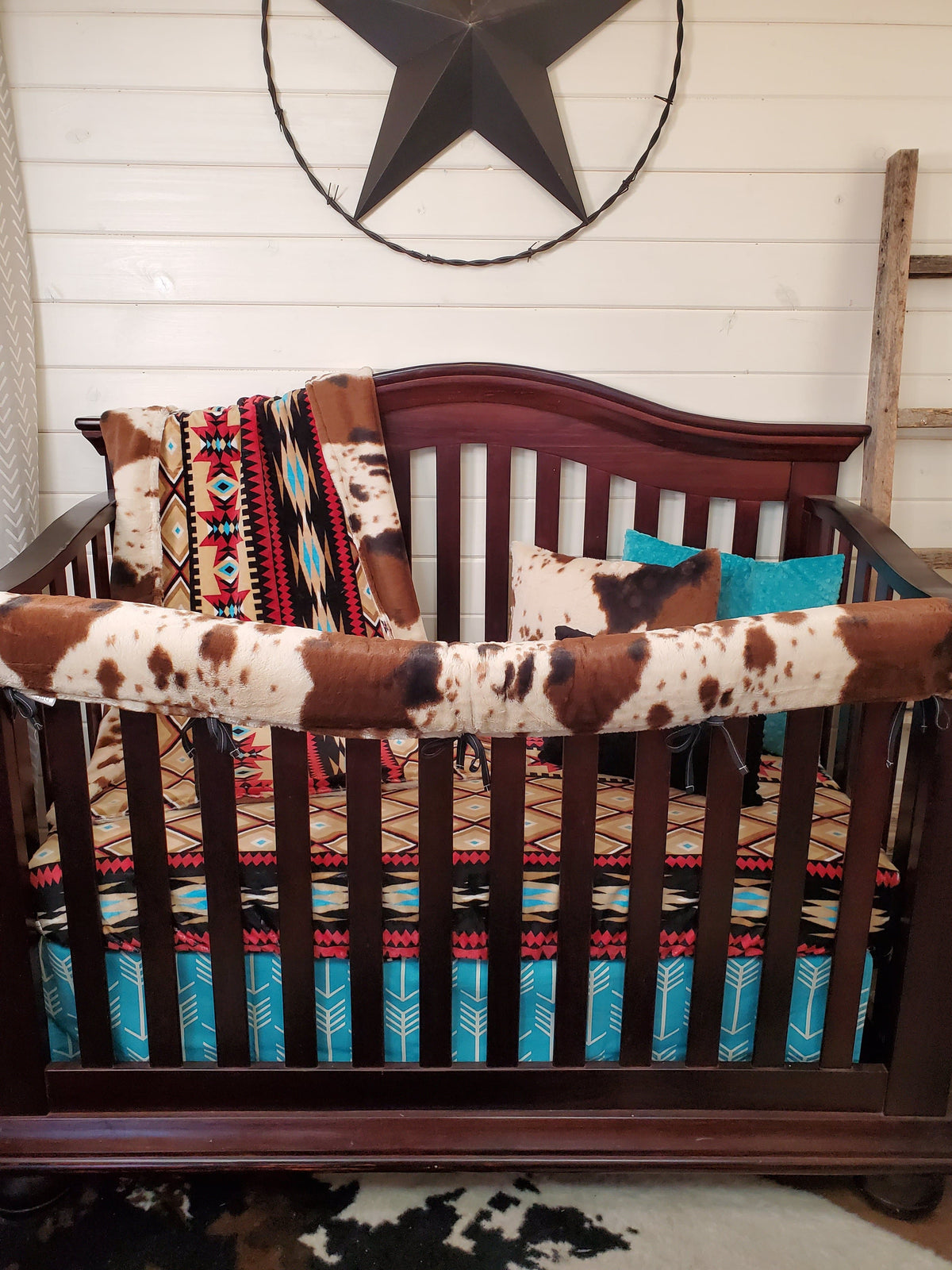 New Release Boy Crib Bedding- Aztec and Cow Minky Ranch Collection
