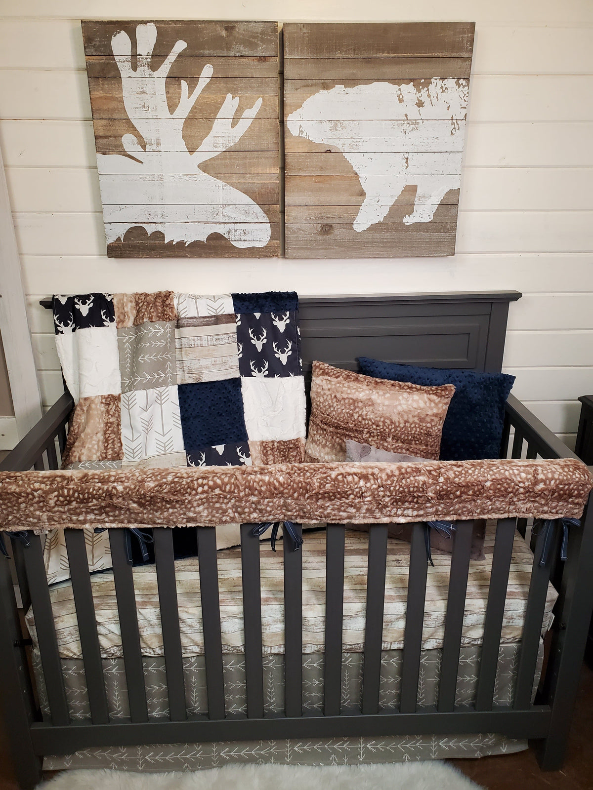 New Release Boy Crib Bedding- Navy Buck and Fawn Minky Woodland Collection