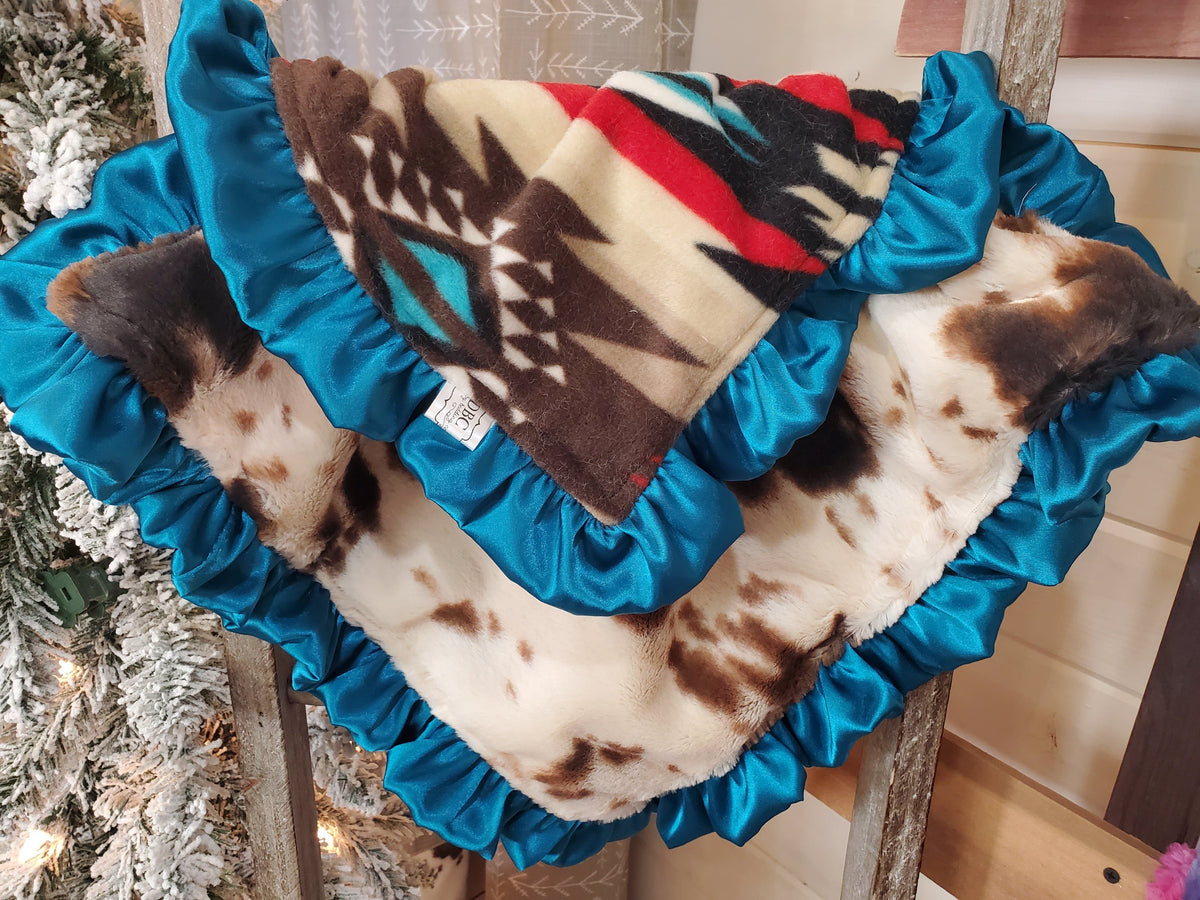 Baby Ruffle Lovey - Brown Aztec