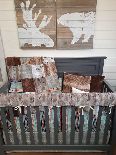 New Release Boy Crib Bedding- Mountains, Mint Aztec, Mountain Fox Minky Woodland Collection