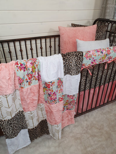 New Release Girl Crib Bedding- Summer Floral and Cheetah Minky Collection