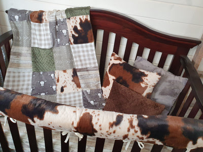 New Release Boy Crib Bedding- Steer and Cow Minky Ranch Collection