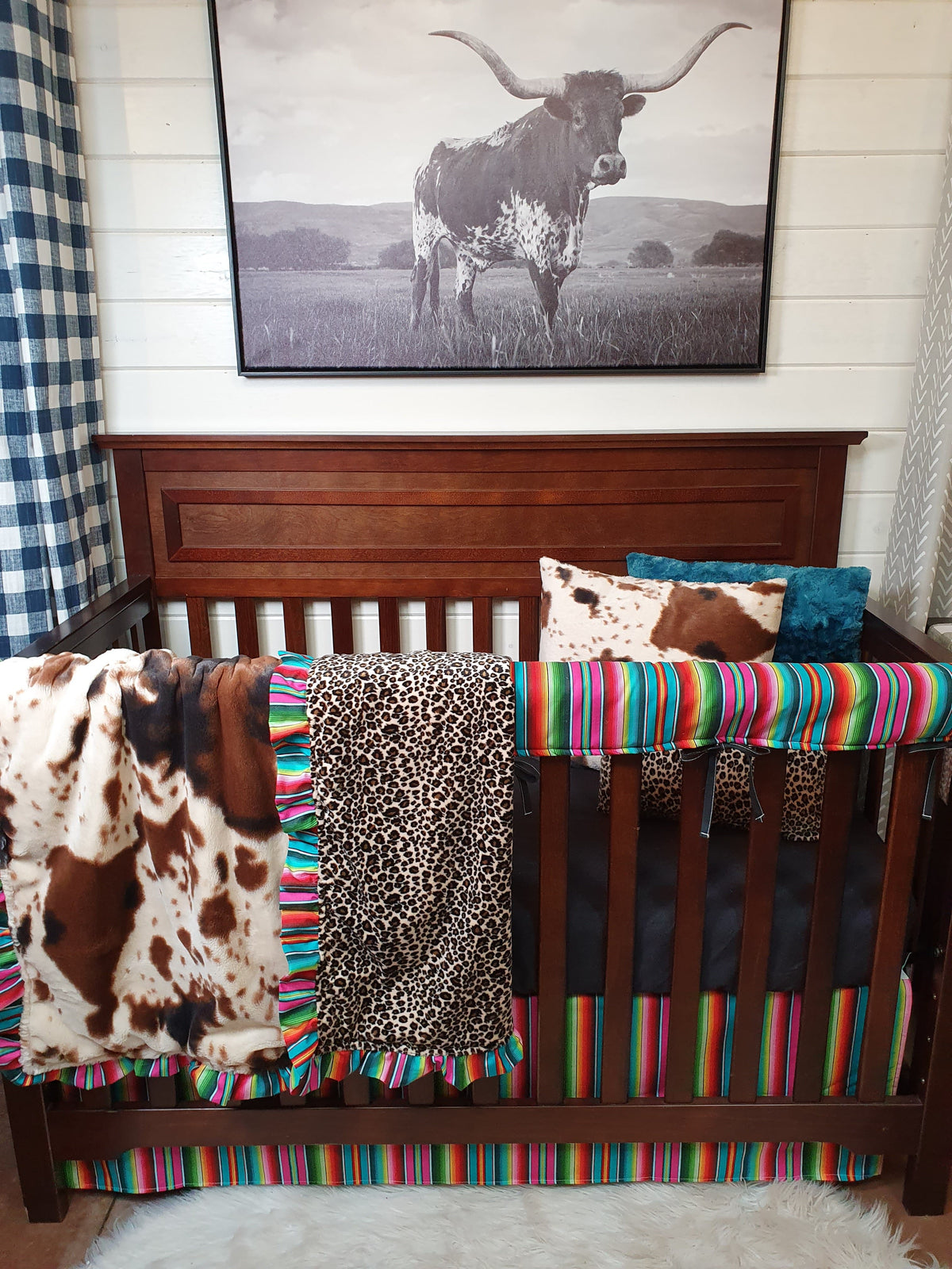 New Release Girl Crib Bedding- Serape, Cow Minky, and Cheetah Minky Collection