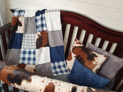 New Design Boy Crib Bedding- Denim Navy Check and Cow Minky Farm Collection
