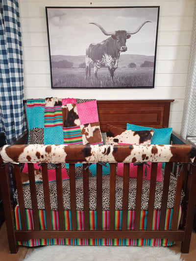 Stock Girl Crib Bedding- Serape, Cheetah Minky, and Cow Minky Ranch Collection