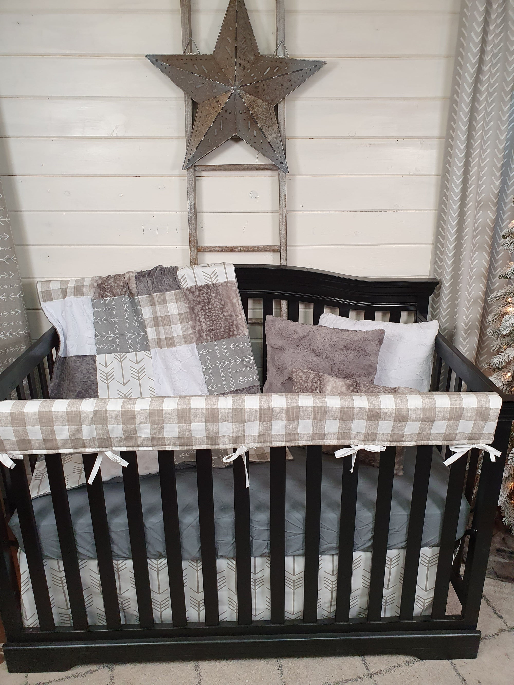 New Release Neutral Crib Bedding- Arrow and Metal Fawn Collection