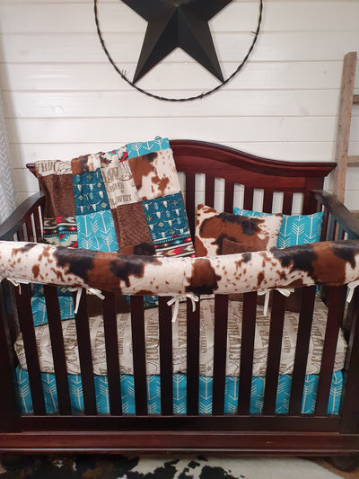 New Release Boy Crib Bedding- Cowboy, Steer, and Cow Minky Western Collection