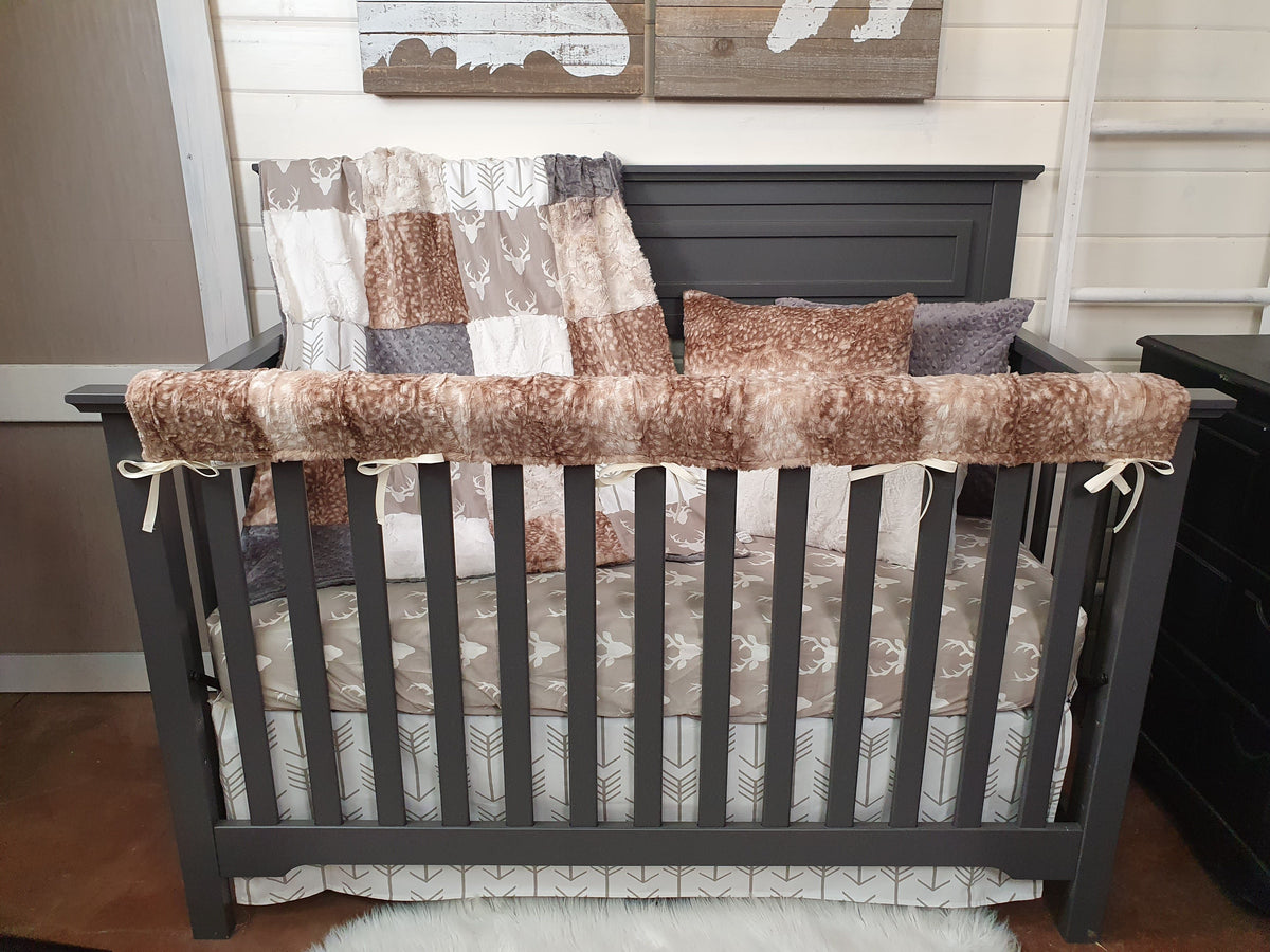 Quick Ship Neutral Crib Bedding- Buck and Fawn Minky Woodland Collection