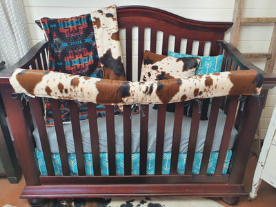 Ready to Ship Boy Crib Bedding- Black Aztec and Cow Minky Ranch Collection