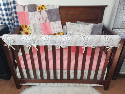 Ready to Ship Girl Crib Bedding- Tulip Fawn and Sunflower Woodland Collection