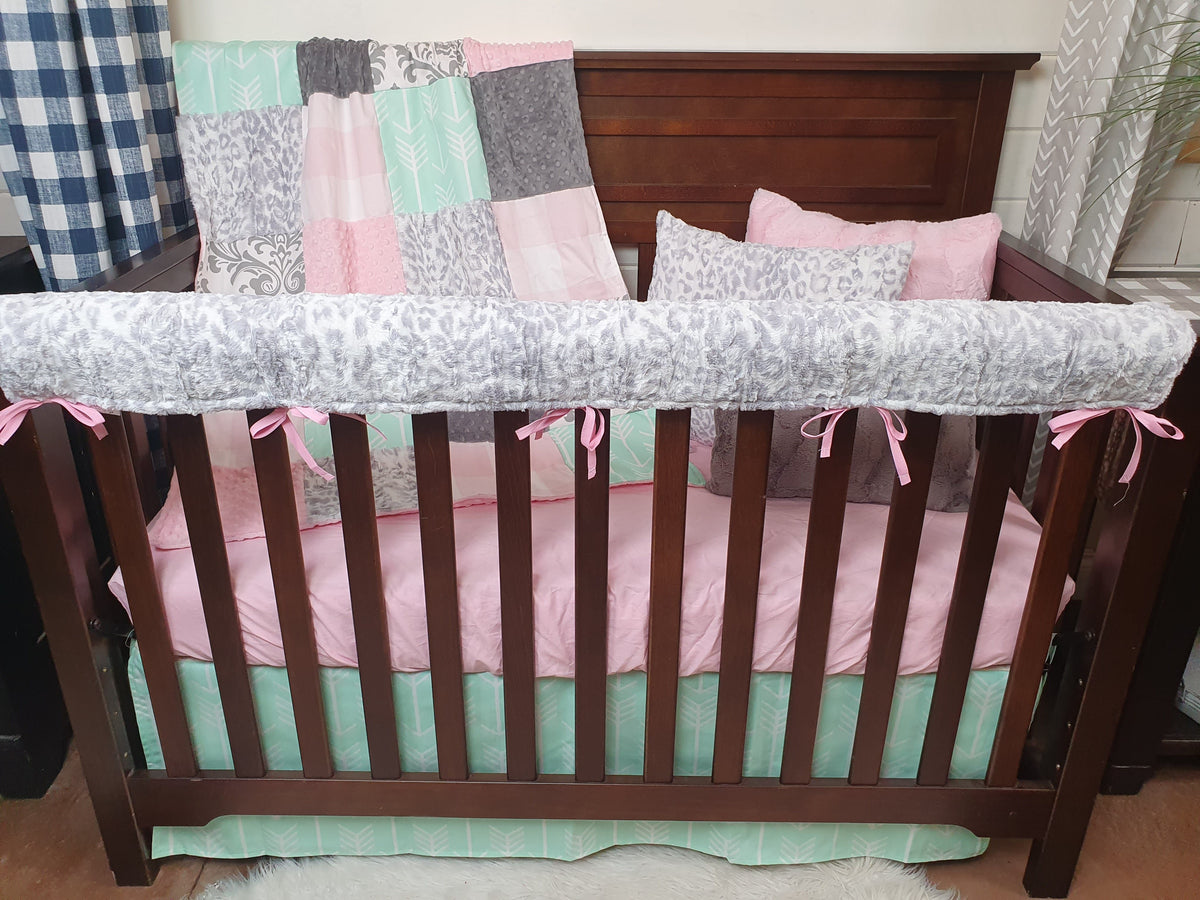 New Designs Girl Crib Bedding- Silver Jaguar and Mint Arrow Collection
