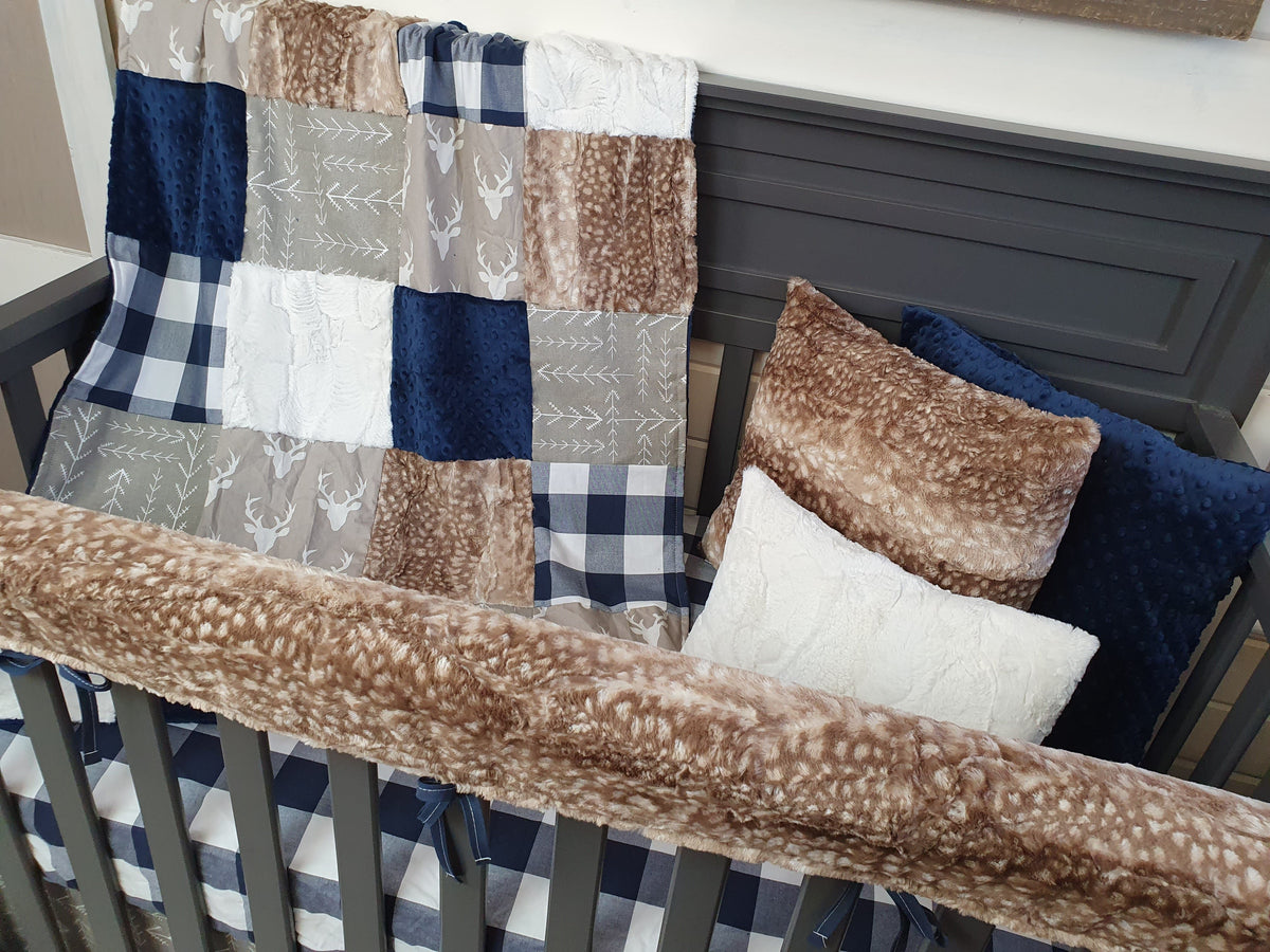 New Release Boy Crib Bedding- Buck, Check, Fawn Minky Woodland Collection