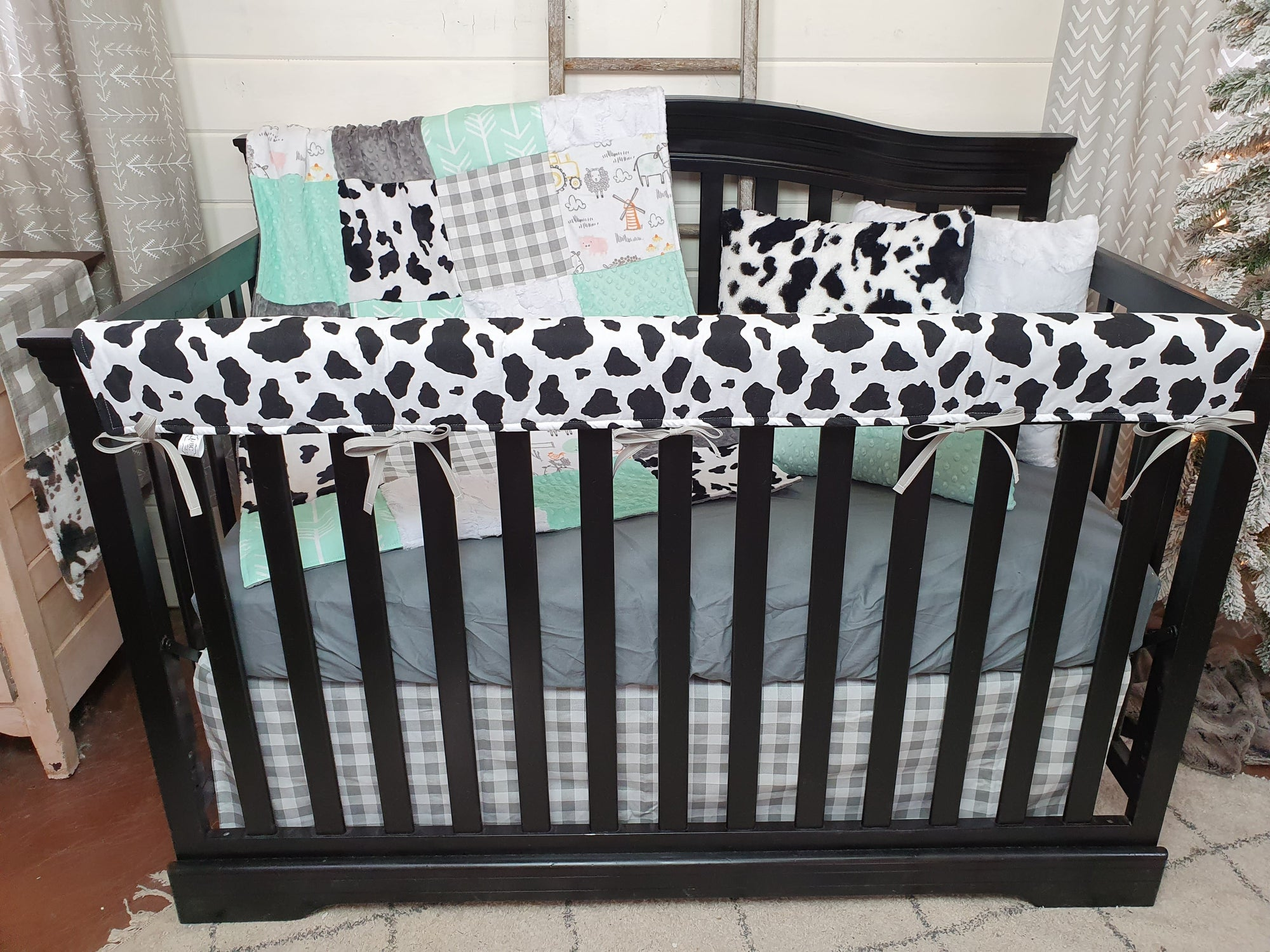 New Release Neutral Crib Bedding- Farm Minky, Check, and Black White Cow Minky Farm Collection