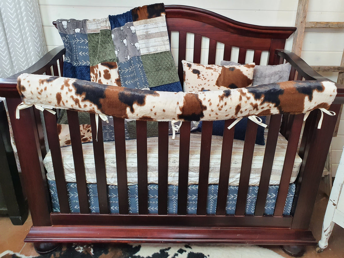 Quick Ship Boy Crib Bedding- Steer Minky, Rustic Wood, and Cow Minky Ranch Collection