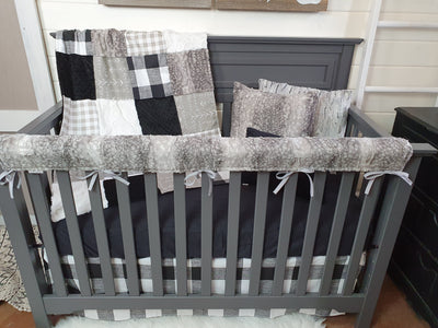 New Release Boy Crib Bedding- Check, Arrow, and Metal Fawn Minky Woodland Collection